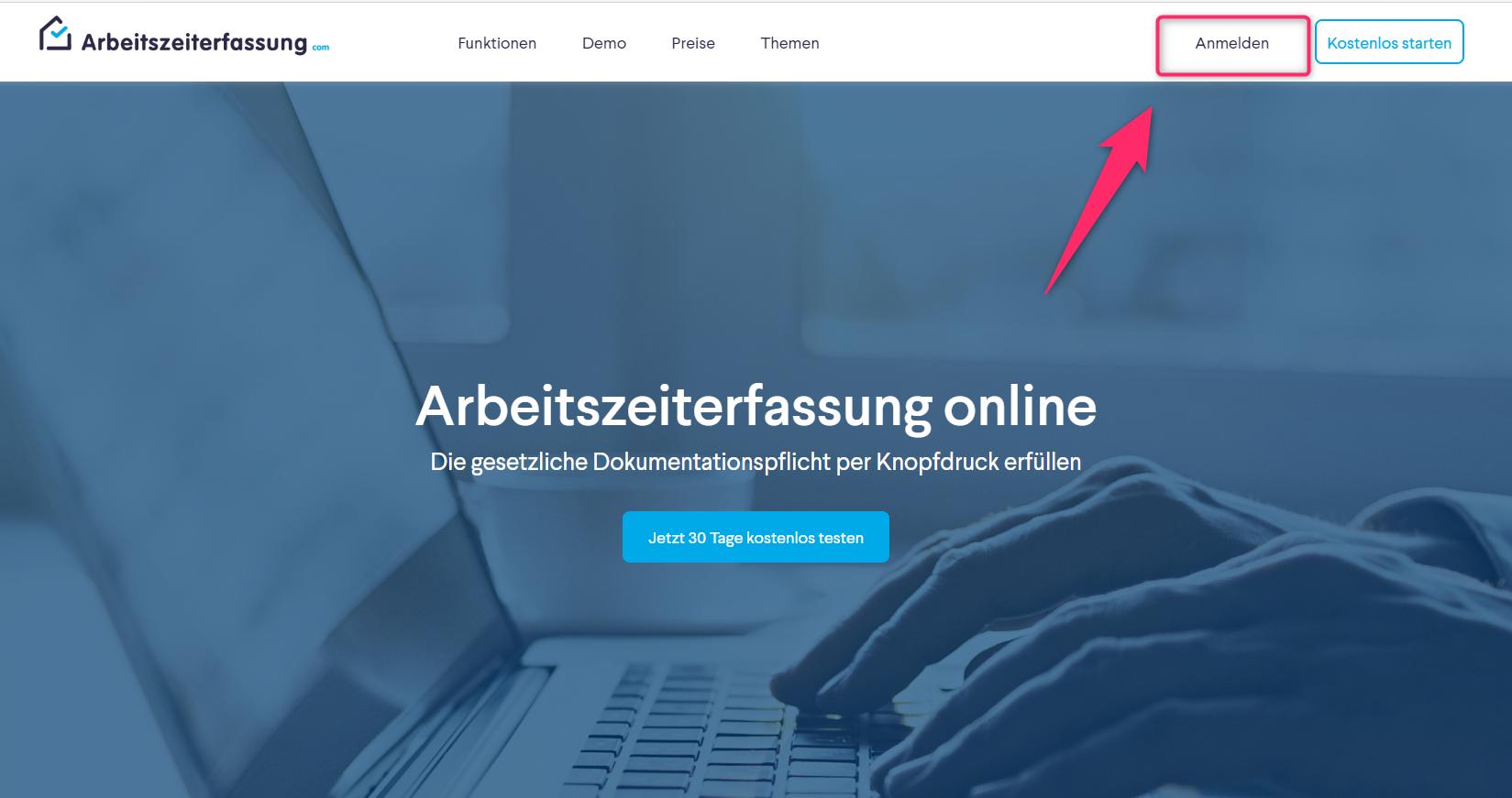 Anleitung Sreenshot Anmelde-Button