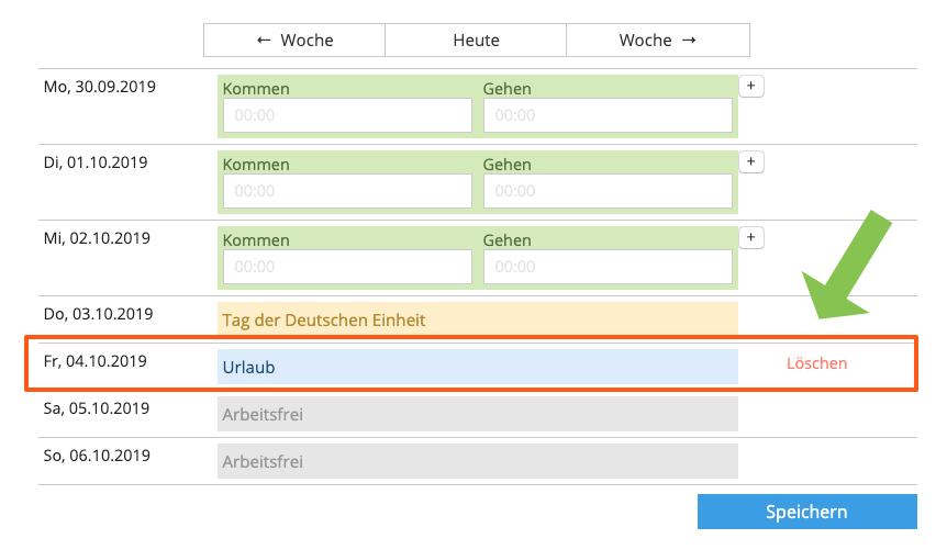 Anleitung Screenshot Abwesenheiten stornieren